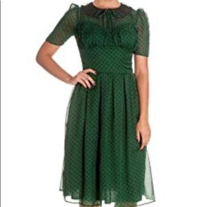 Hell Bunny green Polk a dot chiffon dress.